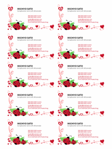 Business cards (ladybugs and hearts, left-aligned, 10 per page)