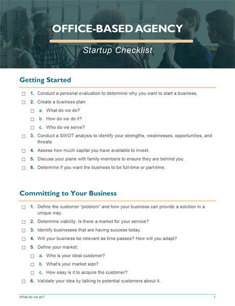 Small business startup checklist