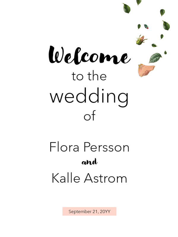 Floral wedding signs