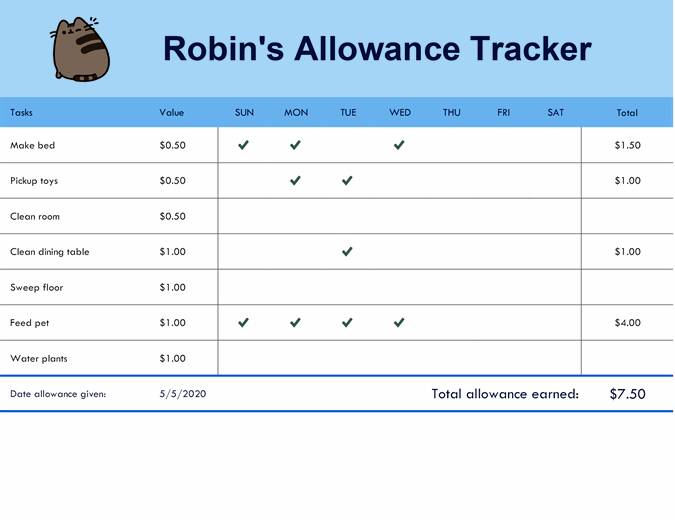 Allowance tracker