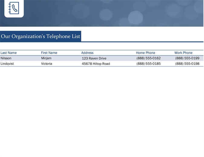 Small business contact list