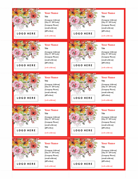 Retro floral business cards