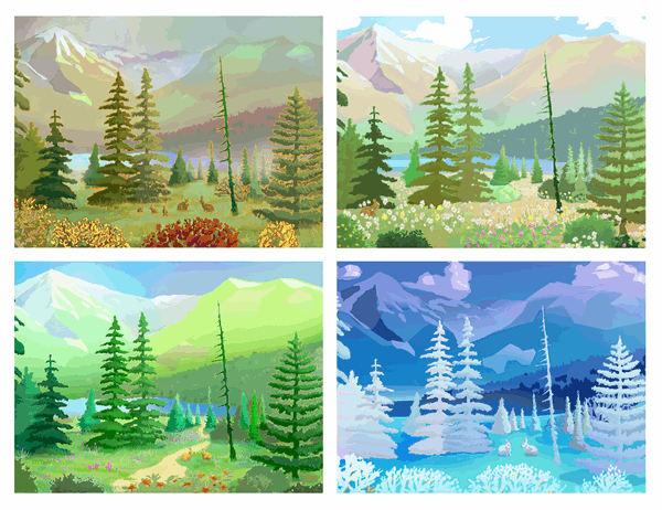 Wilderness scenes postcards
