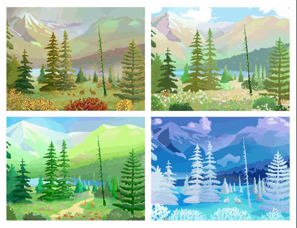 Wilderness scenes postcards