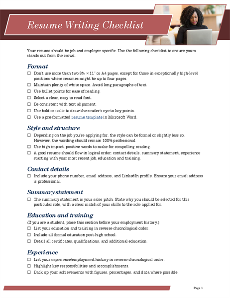 Resume writing checklist
