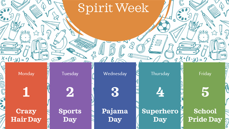 School spirit week calendar