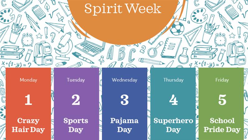 School spirit week calendar