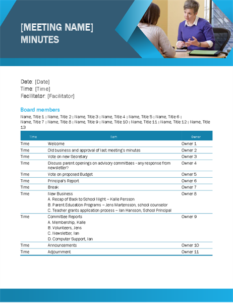 Educational meeting minutes blue