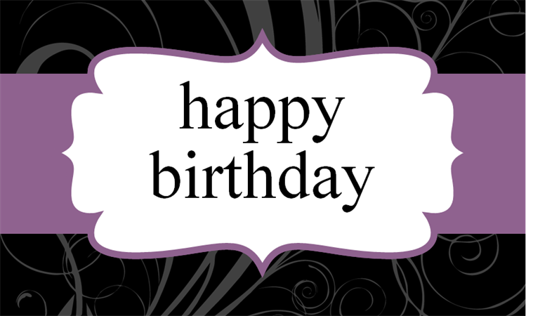Purple ribbon birthday card (half fold)