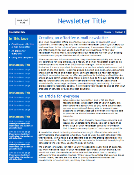 Business newsletter (2 pages)