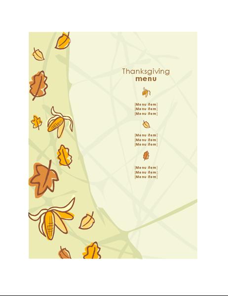 Autumn graphics Thanksgiving menu