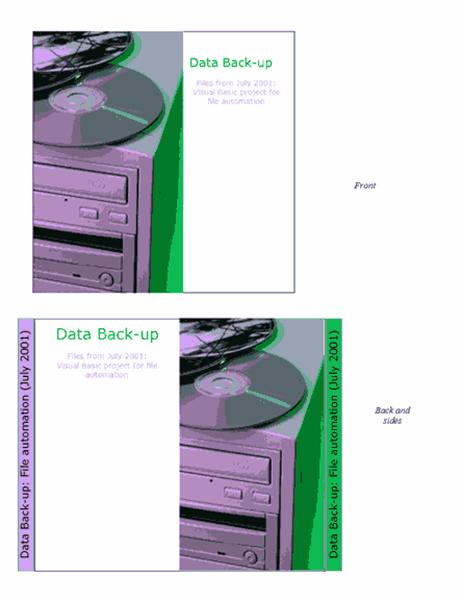 Data back-up CD or DVD case insert
