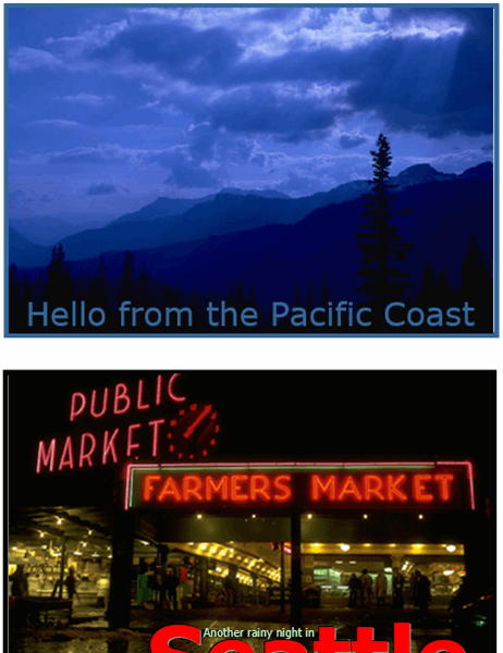 Postcards (Pacific Northwest design, 2 per page)