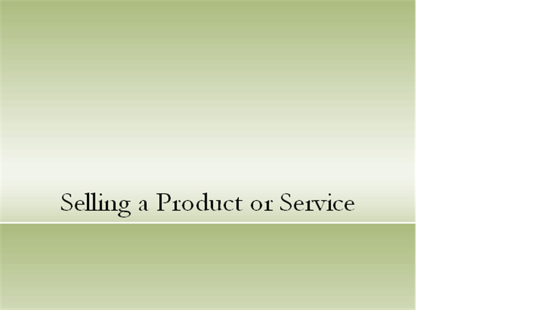 Sales presentation on product or service