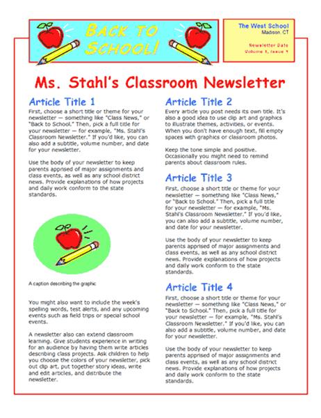 School newsletter (2-col., 2-pp.)