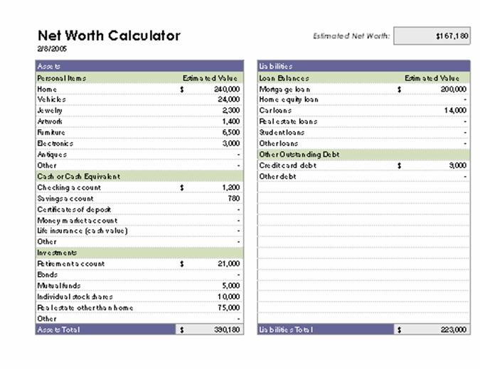 Net worth calculator