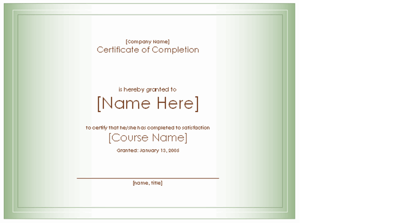 Award certificate for completion of course