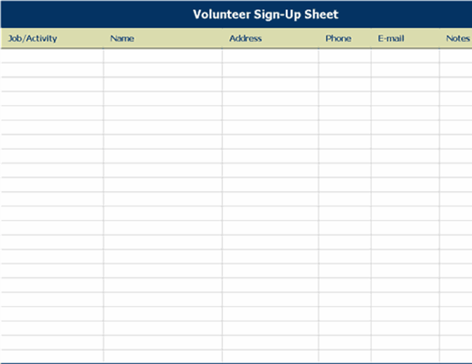 Volunteer sign-up sheet with notes
