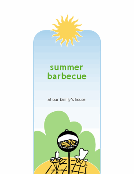 BBQ invitation card (half-fold, A9 size)