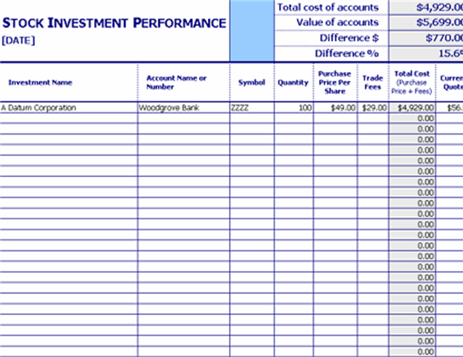 Stock investment performance tracker