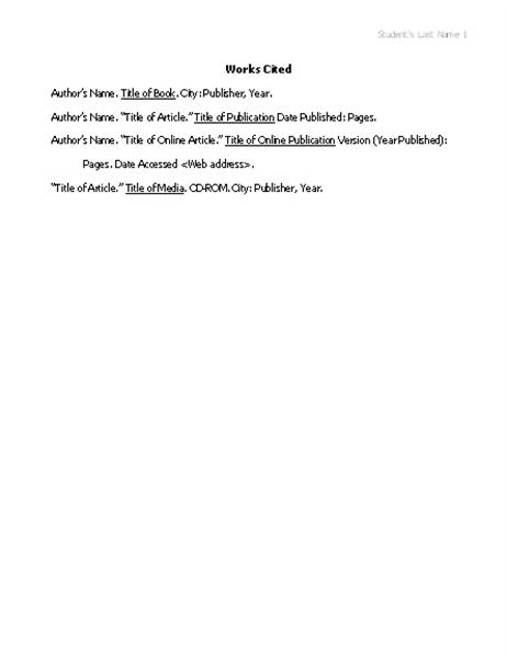 Works cited list in MLA format