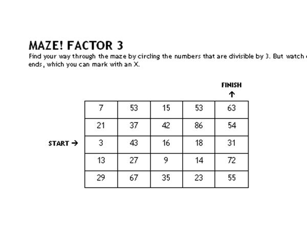 Math maze game (factors of 3)