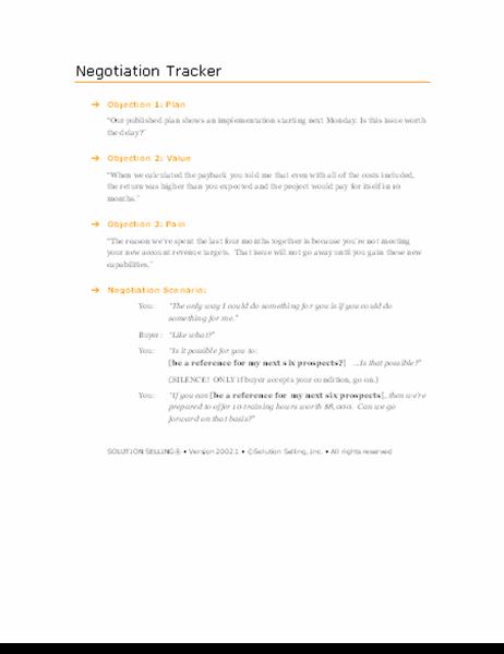 Sales negotiation scenario planner