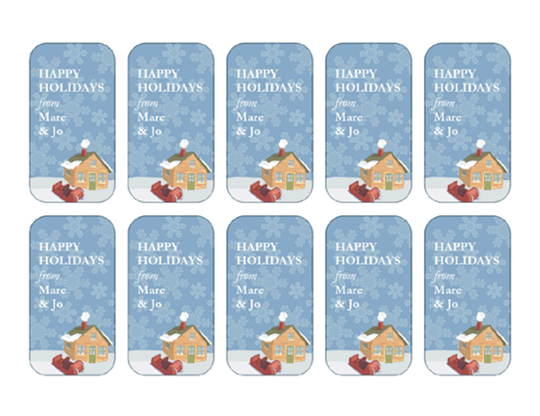 Holiday gift tags (Winter Homestead design, 10 per page)