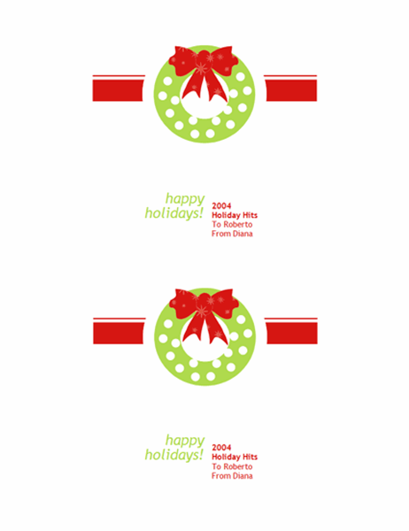 Holiday CD or DVD labels (red giftwrap design, 2 per page)