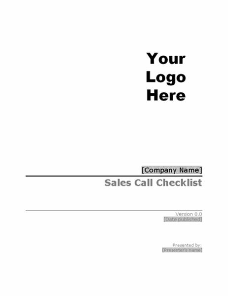 Sales call checklist