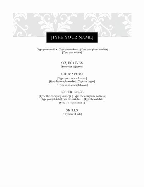 Resume (Black Tie design)