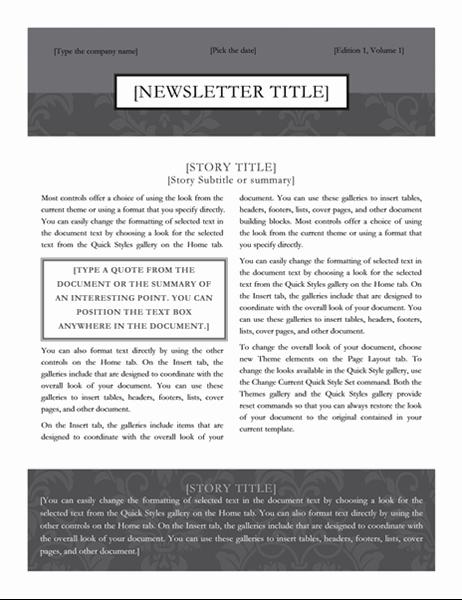 Newsletter (Black Tie design)