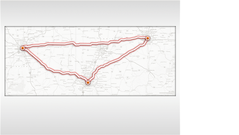 Animated travel routes on a map