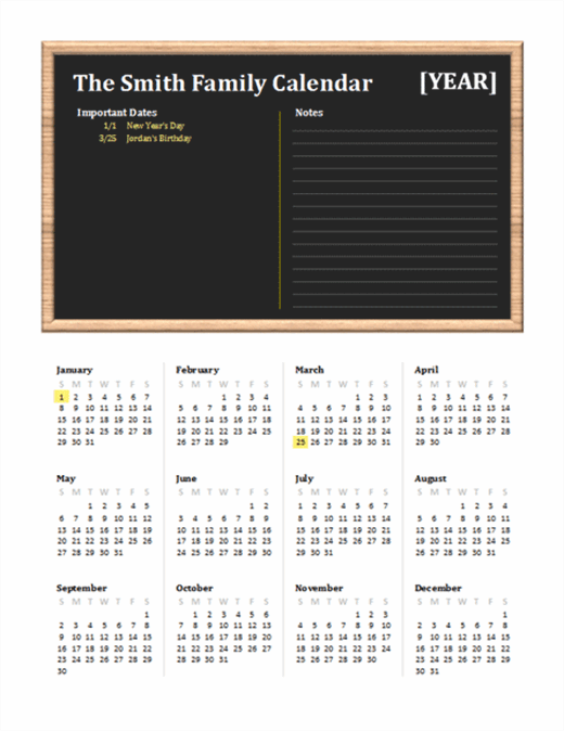 Family calendar (any year, Sun-Sat)
