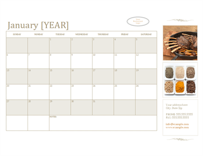 Small business calendar with photos (any year, Sun-Sat)