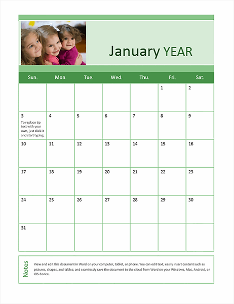 Family photo calendar (any year)