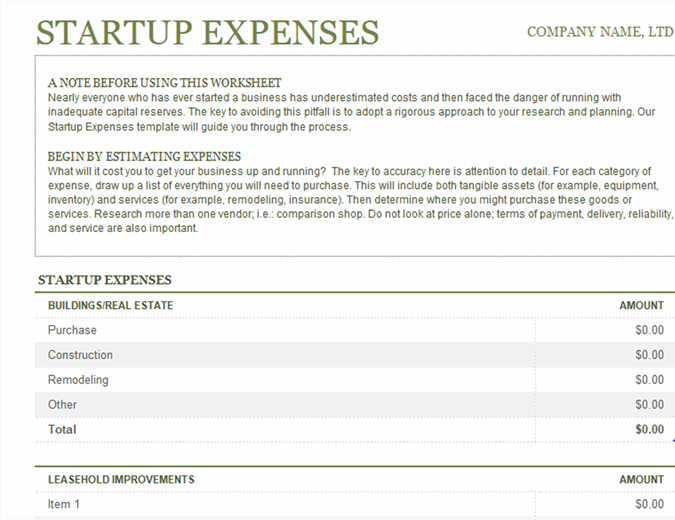 Startup Expenses Excel