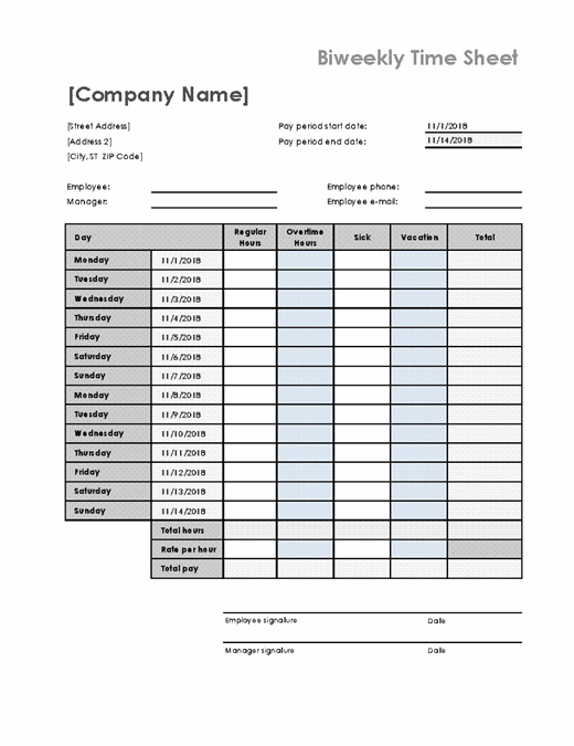 Biweekly time sheet with sick leave and vacation