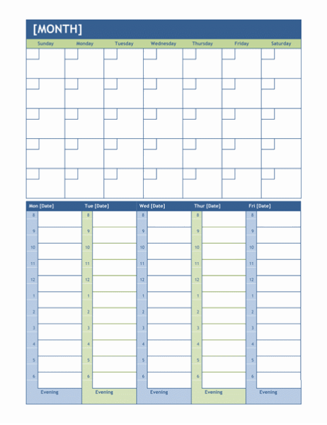 Monthly and weekly planning calendar