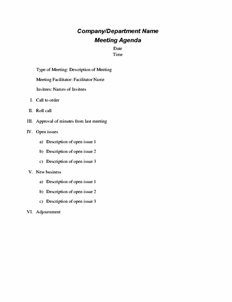 Formal meeting agenda