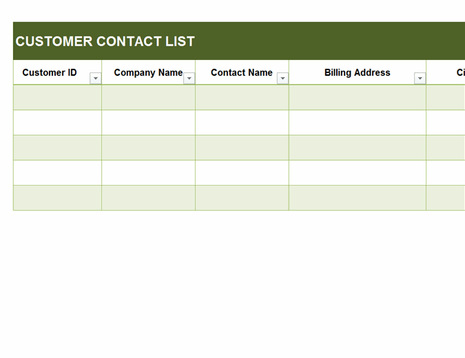 Basic customer contact list