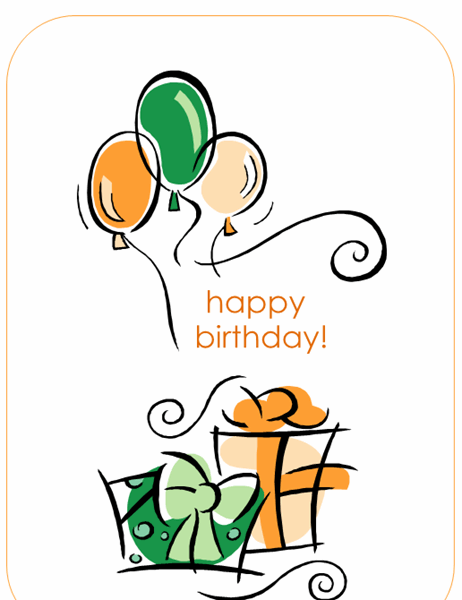 Happy Birthday card (with balloons, quarter-fold)