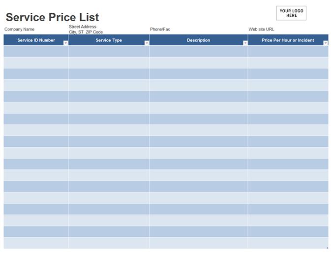Service price list