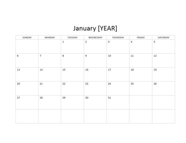 12-month basic calendar (any year)