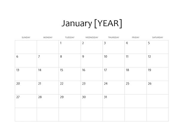 One-month basic calendar (any year)