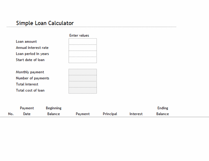 Loan calculator and amortization table