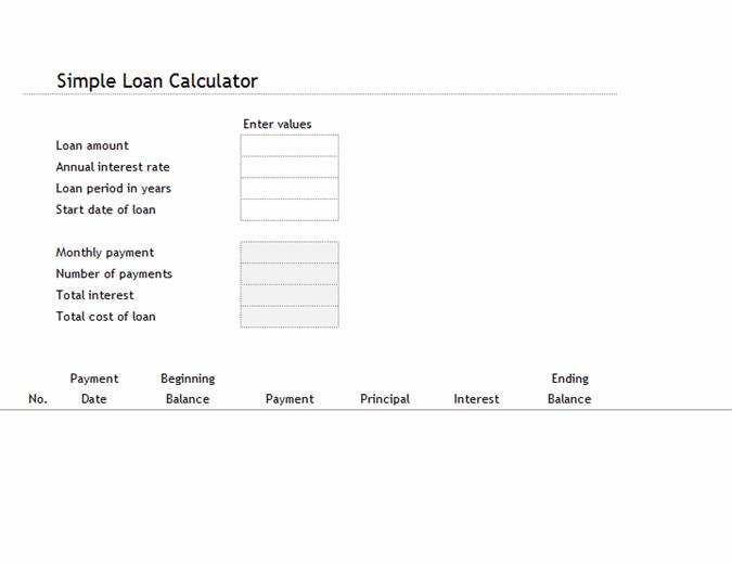 Loan calculator and amortization table