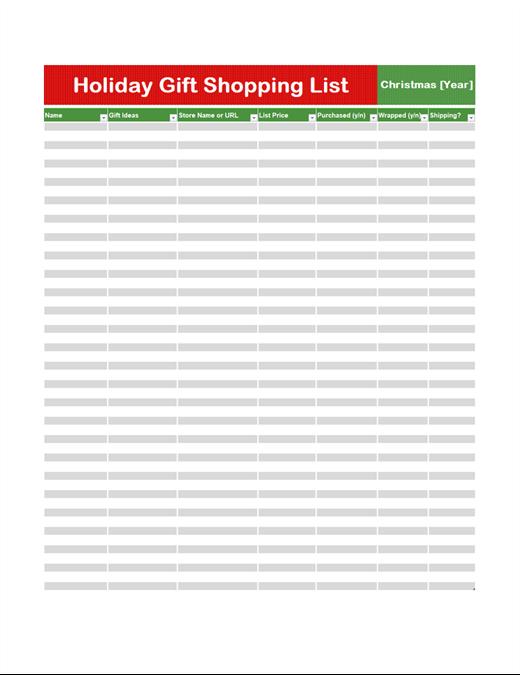 Gift shopping list