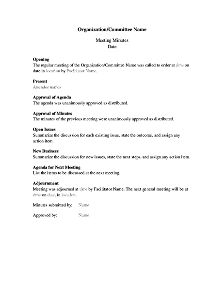Minutes for organization meeting (long form)
