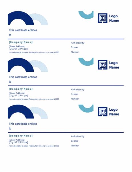 Gift certificates (Arc design, 3 per page)
